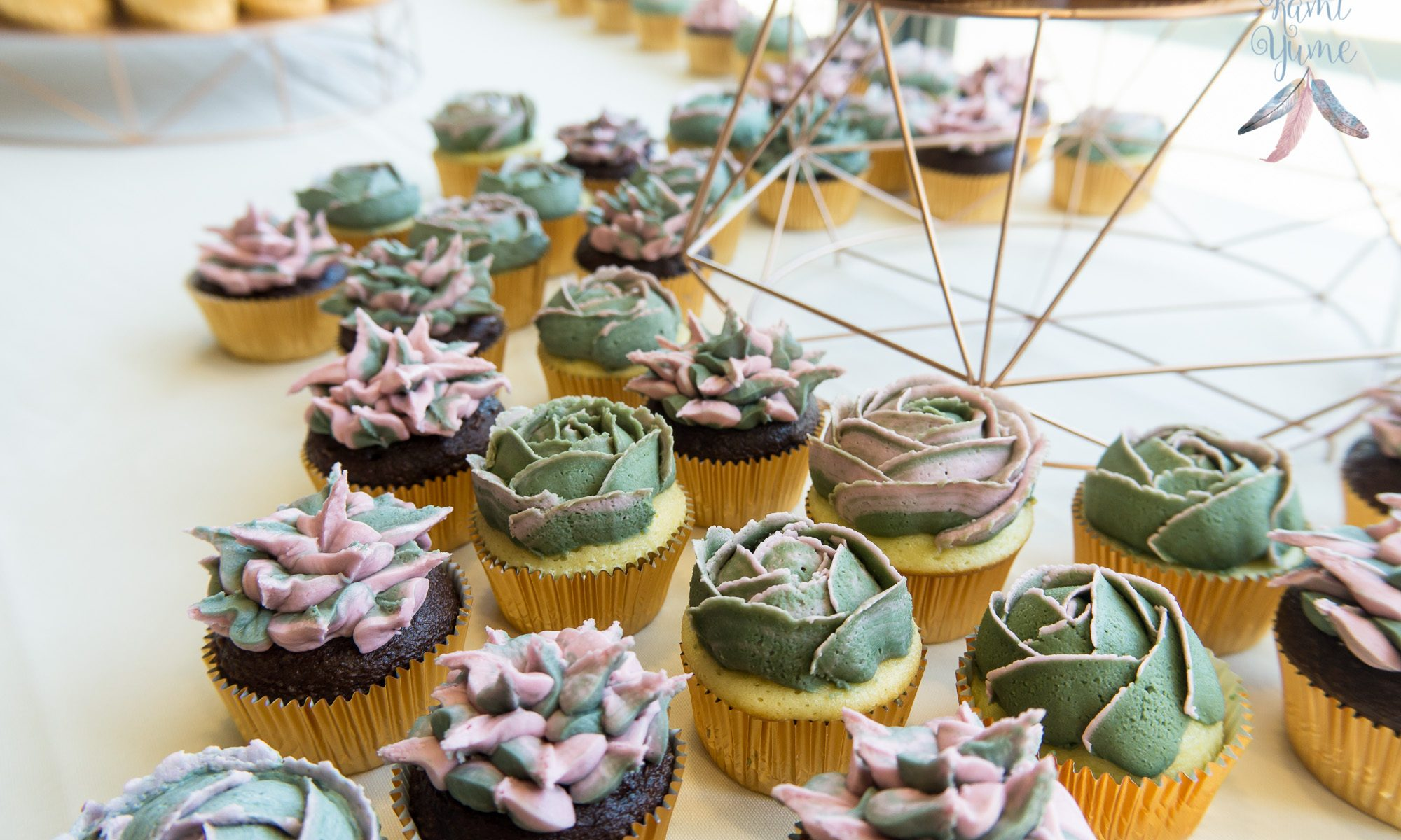Succulent Wedding Cake And Cupcakes Kami Yume